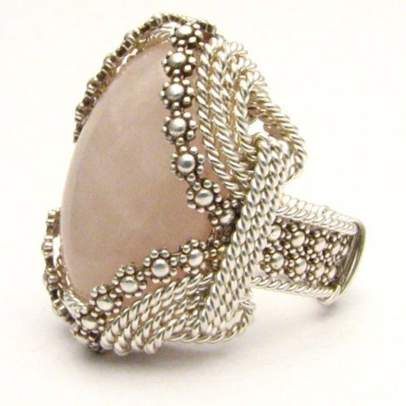 Handmade Sterling Silver Berry Wire Wrap Rose Quartz Ring
