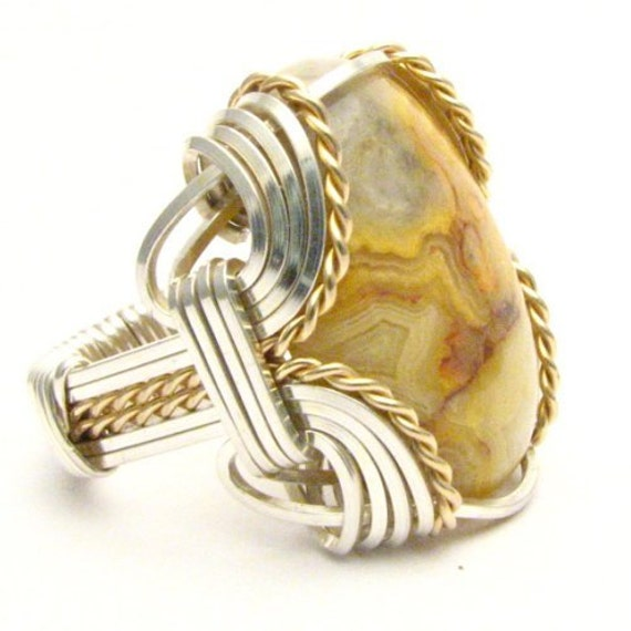 Handmade Wire Wrap Sterling Silver/14kt Gold Filled Crazy Lace Agate Ring