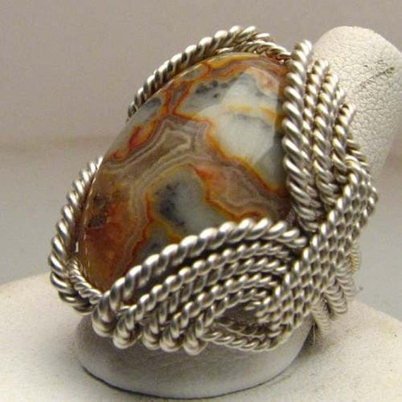 Vintage Handmade Sterling Silver Wire Wrapped Vintage Crazy Lace Agate Ring