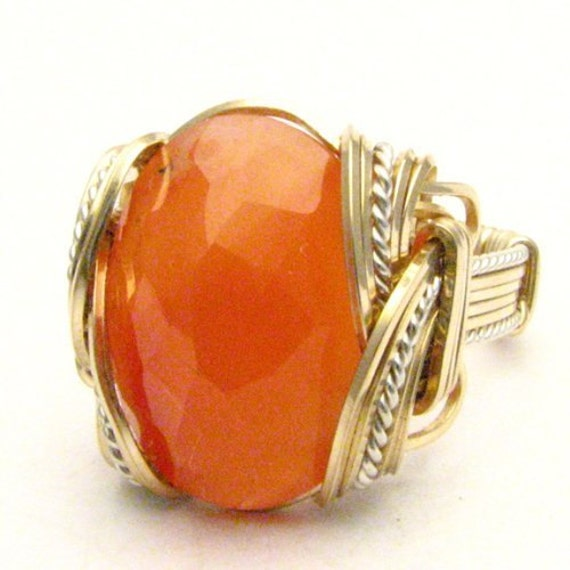 Handmade Wire Wrap Sterling Silver/14kt Gold Filled Faceted Carnelian Cabochon Ring