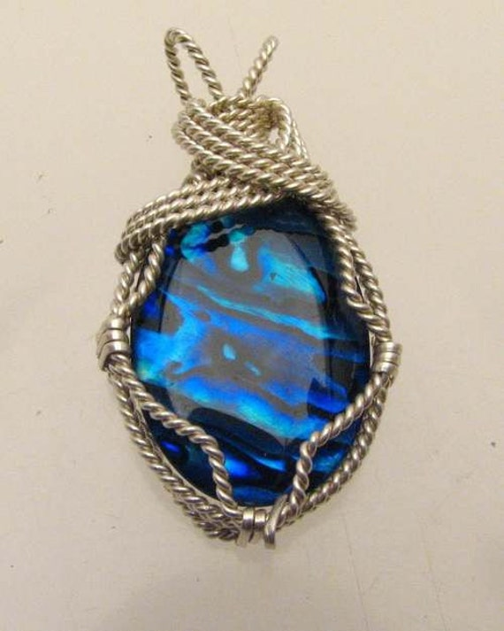 Handmade Artisan Solid Sterling Silver Wire Wrap Paua Shell Pendant
