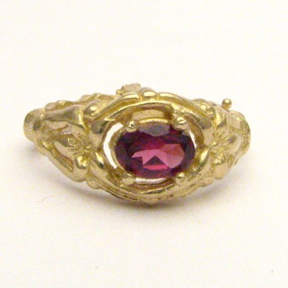 Handmade 14kt Gold Rhodolite Garnet Bone Ring