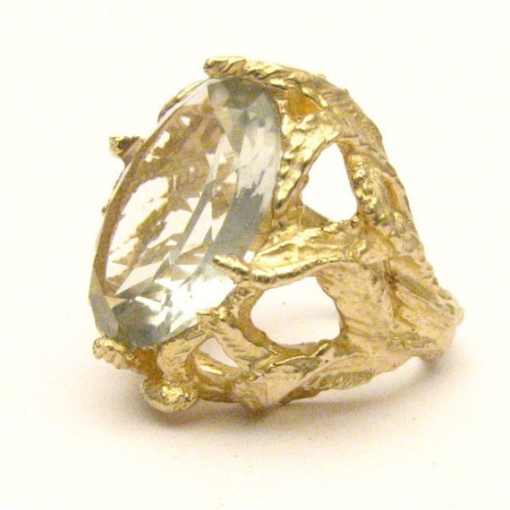 Handmade 14kt Gold Prasiolite Claw Gemstone Ring