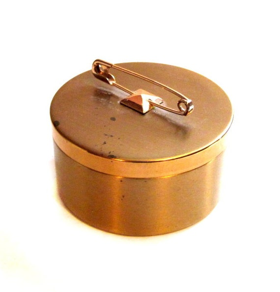 Vintage Trinket Box, Brass Metal Safety Pin Lid, Jewelry Box