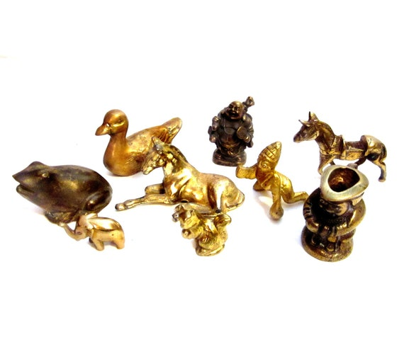 Vintage Brass Figurines, Lot Miniature Mini Metal Collection