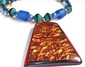 Chunky blue necklace coffee brown toffee