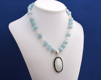 Moonstone Pendant and Aquamarine Necklace Unique Statement Strand June Birthstone August Birthstone 13th Anniversary