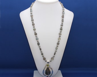 Labradorite Necklace, Amethyst, Peridot, Blue Topaz, Labradorite Pendant, February Birthstone, August Birthstone, November Birthstone,Unisex