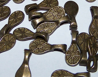 Pendant Bails 100 Medium DICHROIC Glass Scrabble Jewelry Antiqued Bronze Brass Flat Glue Pad