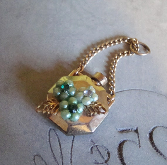 Perfume Bottle Charm . Pretty Upcycled Vintage Pendant with Aqua Rhinestone Flowers