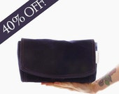 Ready to Ship Sale: L.E. Clutch in Navy Waxed Canvas