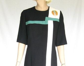 Vintage 80s Abstract Rayon Dress. Medium