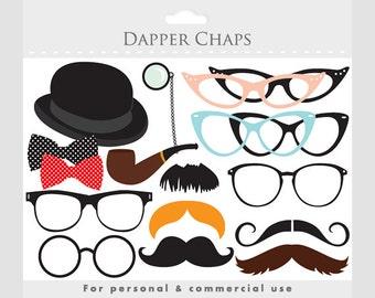 Moustache clipart, mustache clip art, eyeglass clipart, glasses, moustaches, dapper, posh, pipe, bowler hat, costume prop clip art