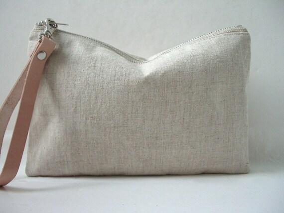 Natural Linen Clutch, Wristlet, Purse - Neutral, Oatmeal Linen and Leather, Women, Plain Clutch, Basic Clutch, Natural Bag
