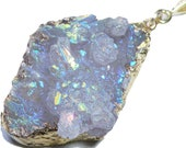 Opalescent Aura Titanium Druzy Pendant Necklace with 24K Gold Edge
