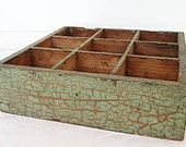 Antique Rustic 9 Compartment Small Wooden Box in Great Sage Green over Brown Crackle Finish Original Paint