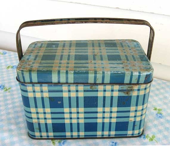 1940's Vintage Small Snack, Child  or Mini Size Tin Lunch  Box with Handle in Blue and White Plaid