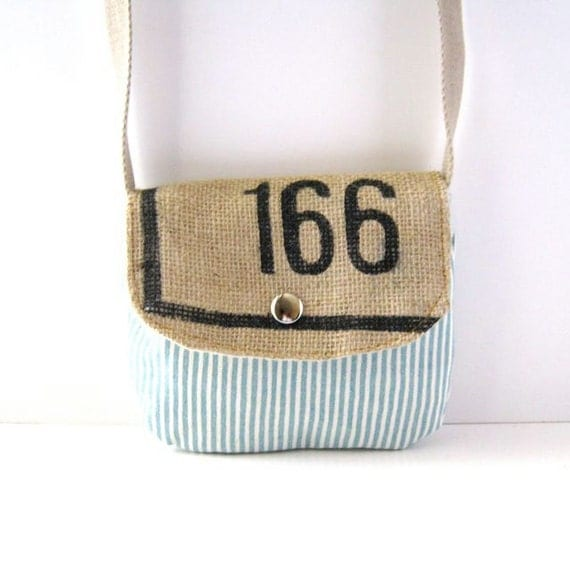 Date Purse // Blue-White Striped Canvas - Recycled Coffee Bag Burlap // Ready to Ship