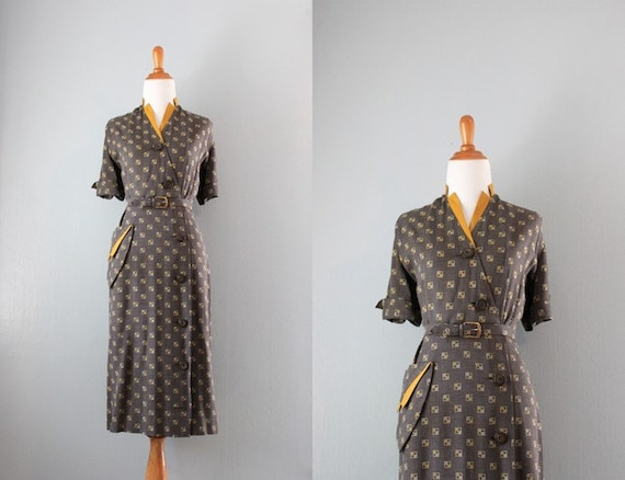 Reserved...1940s Dress / Vintage 40s Geometric Print Dress / Forties Day Dress