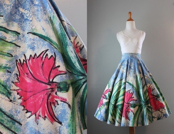1950s Painted Circle Skirt / Vintage 50s Jim Tillet Screen Printed Island Skirt