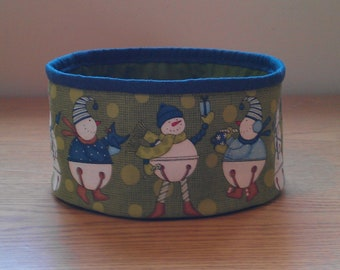 Quilted Fabric Bowl - Jingle bell Snowmen (XbowlO)