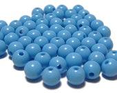 6mm Smooth Round Acrylic Beads in Cornflower blue 100pcs
