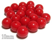 10mm Opaque acrylic plastic beads in Red 20 beads