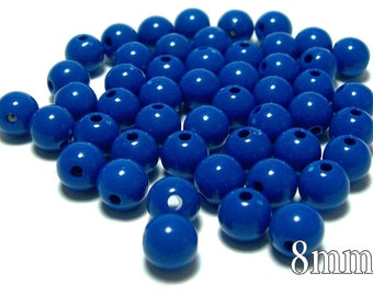 8mm Smooth Round Acrylic Beads in Dark Blue 50 beads