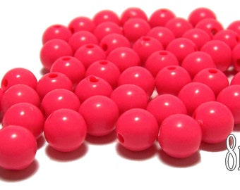 8mm Smooth Round Acrylic Beads in Coral 50 beads