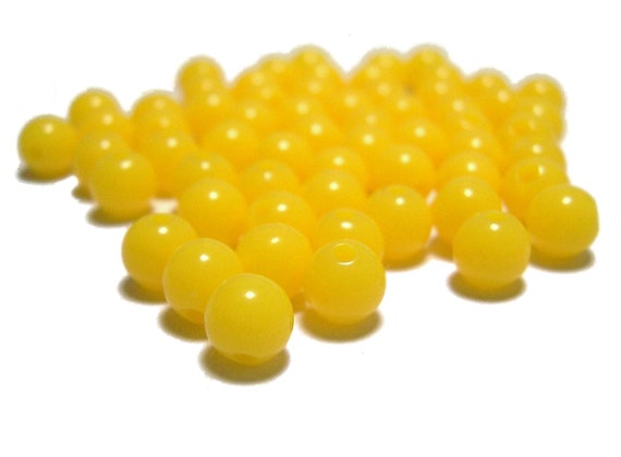 6mm Smooth Round Acrylic Beads in Yellow 100pcs