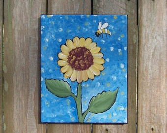"Folk Art Sunflower and Bee Original Painting 8"" x 10"" Canvas FREE SHIPPING"