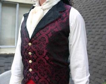 Black and Maroon Medieval Pattern Silk Brocade Steampunk Victorian Lapeled Gentlemen's Vest, Shirt and Cravat