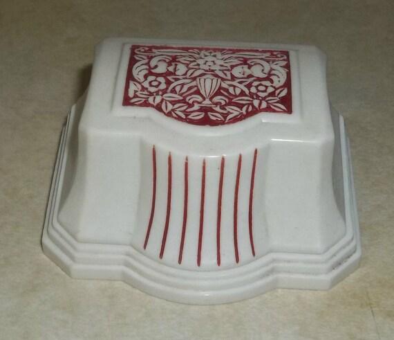 Vintage Bakelite Red White Ring Box Advertising Velvet