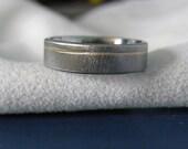 Titanium Yellow Gold Ring, Wedding Band, Frost Finish