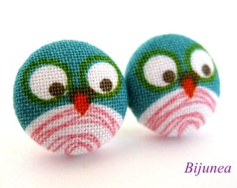 Owl earrings - Green owl earrings - Owl stud earrings - Owl studs - Owl posts - Owl post earrings sf929
