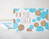 Happy New Year Letterpress & Foil Thank You Cards - Bamboo paper, kraft envelopes, set of 6 cards. F4-22T