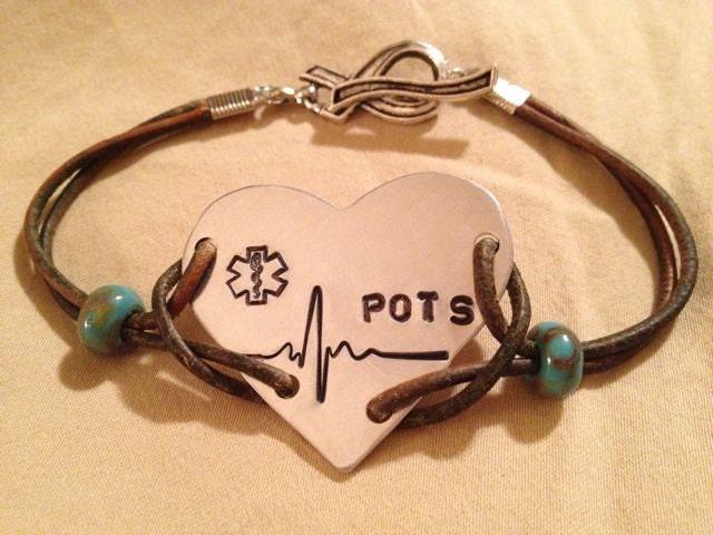 Heart With Heartbeat Ekg Line Pots Bracelet On Double Leather
