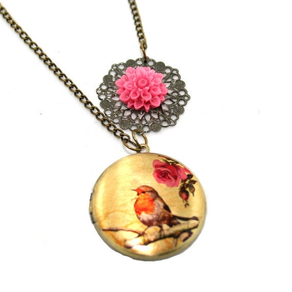 Red Robin Locket, Rose Illustration Necklace