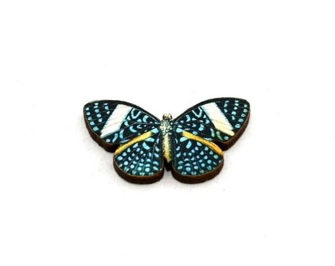 Blue Butterfly Brooch, Starry Night Cracker Butterfly, Wooden Butterfly Badge, Butterfly Illustration, Animal Brooch, Woodland, Wood Jewelry
