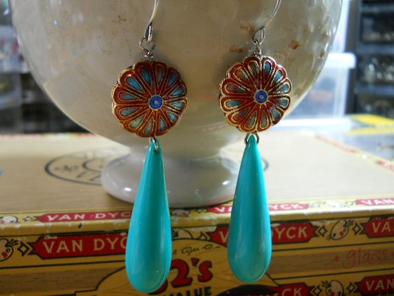 Dangle Earrings with Cloisonne Beads and Italian Lucite Drops in Turquoise Bright and Cheery