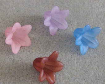 Frosted Lucite Acrylic Flower Cap Bead Mix 12mm x 18mm SALE 410