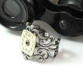 Steampunk Vintage Hamilton Dial OOAK Ring Old Watch Gear Filigree Designed By Mystic Pieces