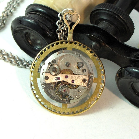 Steampunk Optical Lens OOAK Necklace Vintage Watch Movement Clock Gear Unisex Exclusive Design By Mystic Pieces