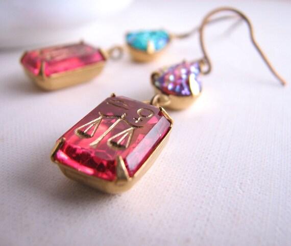 LIBRA rhinestone earrings vintage pink crystal