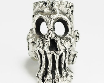 Corkenstein Skull Ring solid silver 63 grams made to any size by RXV rings RXVrings