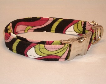 Pink Pucci Retro Print Dog Collar by Swanky Pet