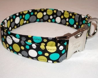 Stylish Blue & Green Polka Dot Collar by Swanky Pet
