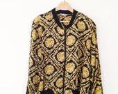 vintage 90s silky black and gold jacket M-L