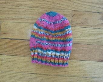 hand knit fair isle baby hat, lightweight