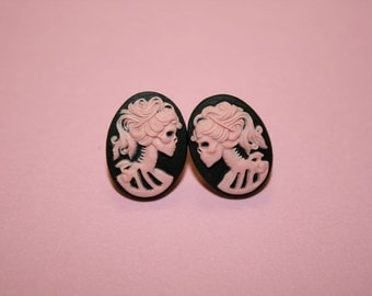 Small Black and Pink Skull Lady Cameo Earrings